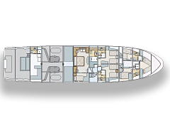 Lower Level Deck Plan for 111' Nordlund Illusion Yachtfisher
