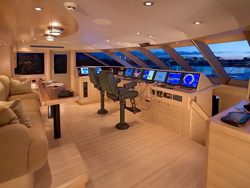 Pilothouse of the 118' Yacht Southern Way Built by Nordlund