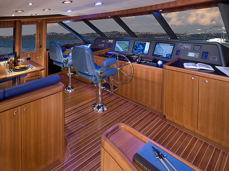 Pilothouse of the 78' Yacht Shanakee Built by Nordlund Boat Company