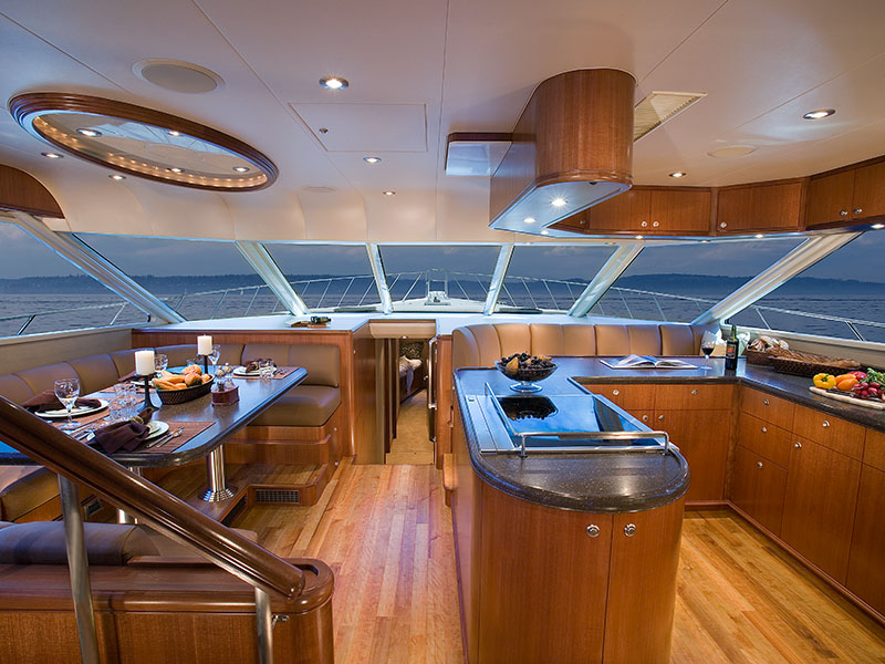 Interior Galley and Dining Area of 88' Yacht El Vato Built by Nordlund